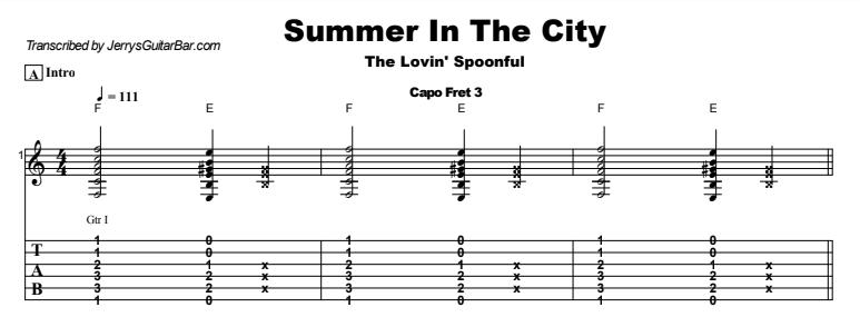 John Sebastian - Summer In The City Guitar Lesson Tab Preview