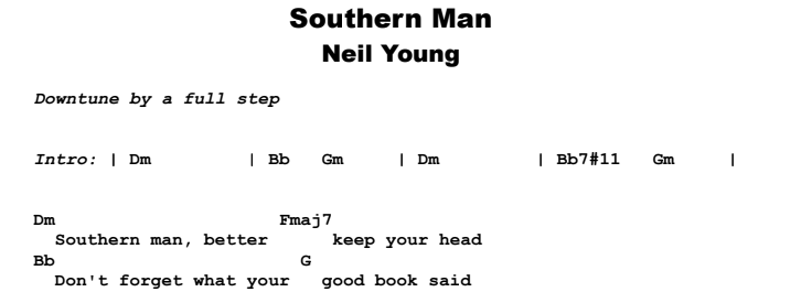 Neil Young - Southern Man Guitar Lesson Chords & Songsheet Preview