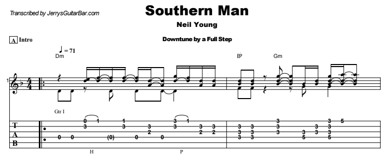 Neil Young - Southern Man Guitar Lesson Tab Preview