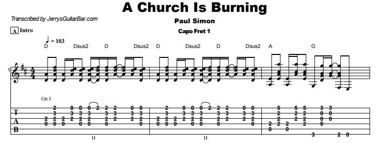 Paul Simon - A Church Is Burning Guitar Lesson Tab Preview