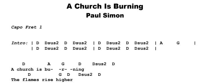 Paul Simon - A Church Is Burning Guitar Lesson Chords & Songsheet Preview