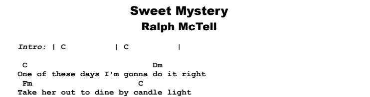Ralph McTell - Sweet Mystery Guitar Lesson Chords & Songsheet Preview