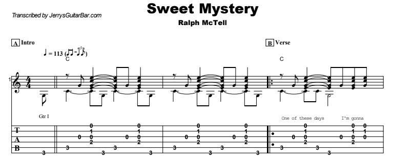 Ralph McTell - Sweet Mystery Guitar Lesson Tab Preview