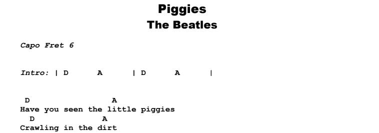 The Beatles - Piggies Guitar Lesson Chords & Songsheet Preview