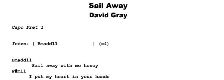 David Gray - Sail Away Guitar Lesson Chords & Songsheet Preview
