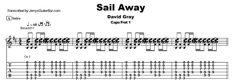David Gray - Sail Away Guitar Lesson Tab Preview