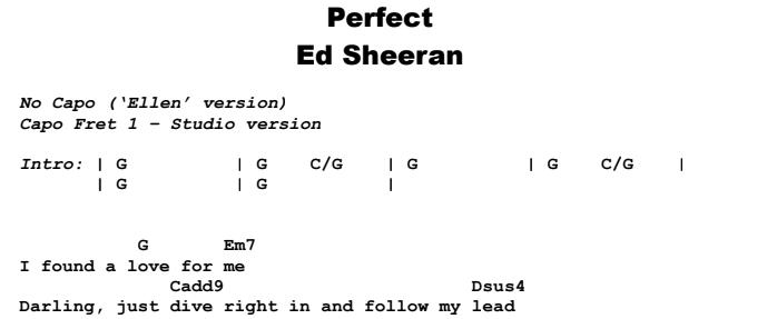 Ed Sheeran - Perfect Guitar Lesson Chords & Songsheet Preview