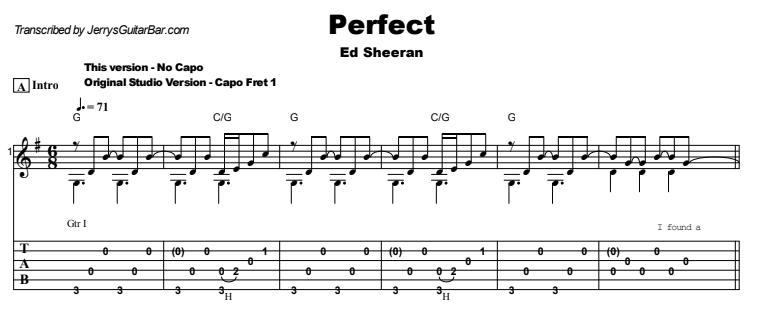 Ed Sheeran - Perfect Guitar Lesson Tab Preview