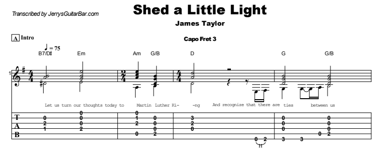 James Taylor - Shed a Little Light Guitar Lesson Tab Preview