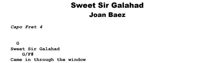 Joan Baez - Sweet Sir Galahad Guitar Lesson Chords & Songsheet Preview