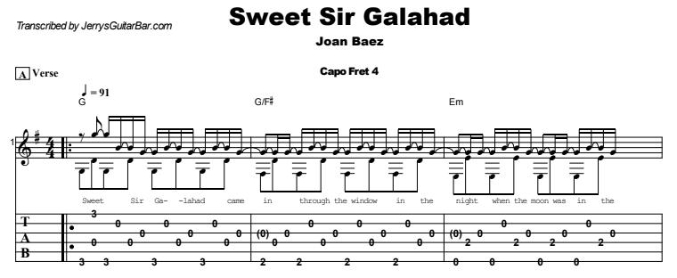 Joan Baez - Sweet Sir Galahad Guitar Lesson Tab Preview