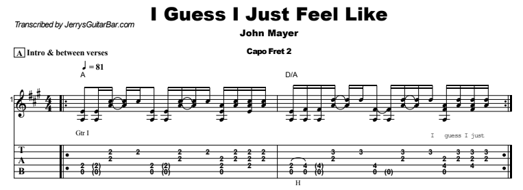 John Mayer - I Guess I Just Feel Like Guitar Lesson Tab Preview