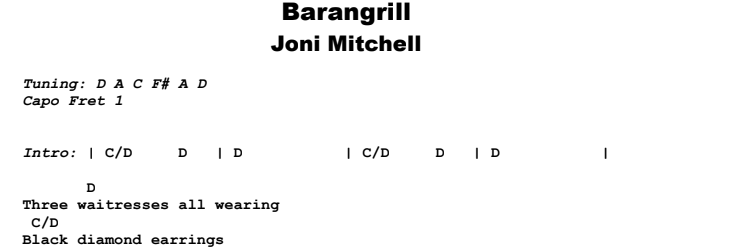 Joni Mitchell - Barangrill Guitar Lesson Chords & Songsheet Preview