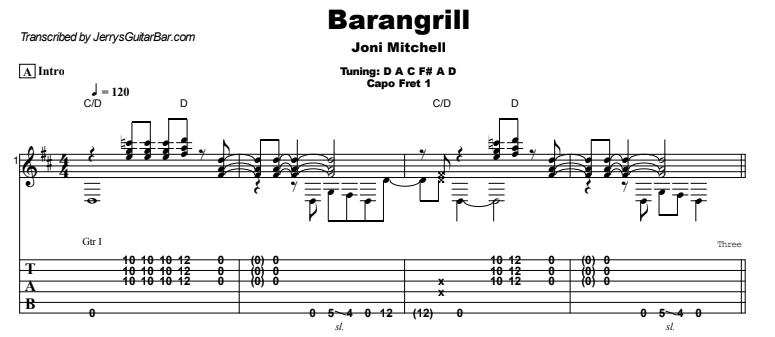 Joni Mitchell - Barangrill Guitar Lesson Tab Preview