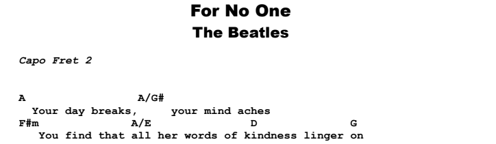 The Beatles - For No-One Guitar Lesson Chords & Songsheet Preview