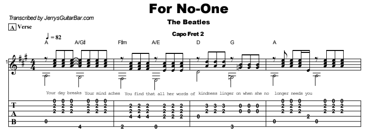 The Beatles - For No-One Guitar Lesson Tab Preview