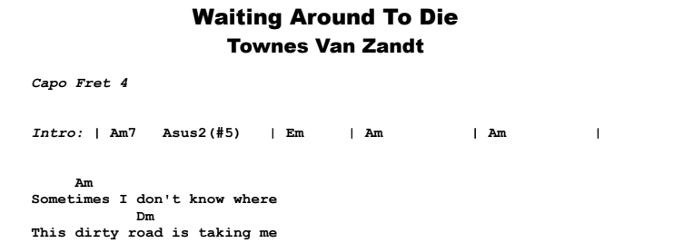 Townes Van Zandt - Waiting Around To Die Guitar Lesson Chords & Songsheet Preview