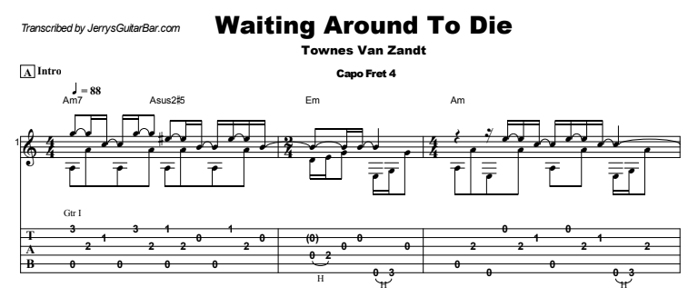 Townes Van Zandt - Waiting Around To Die Guitar Lesson Tab Preview