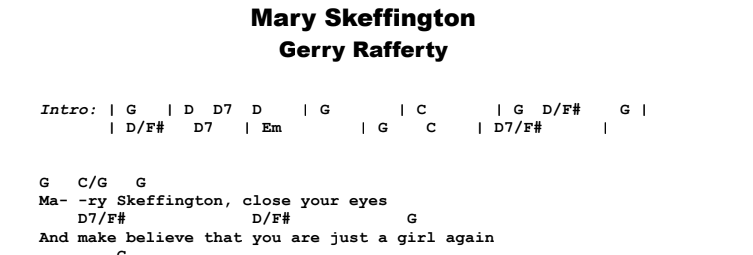 Gerry Rafferty - Mary Skeffington Guitar Lesson Chords & Songsheet Preview