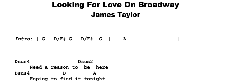 James Taylor - Looking For Love On Broadway Guitar Lesson Chords & Songsheet Preview