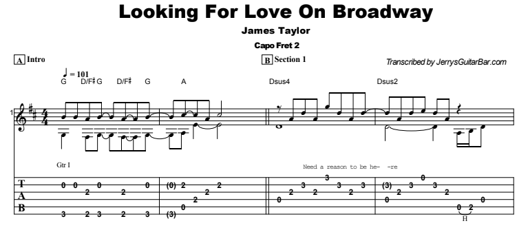 James Taylor - Looking For Love On Broadway Guitar Lesson Tab Preview