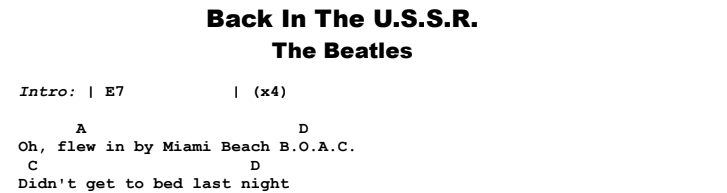The Beatles - Back In The USSR Guitar Lesson Chords & Songsheet Preview
