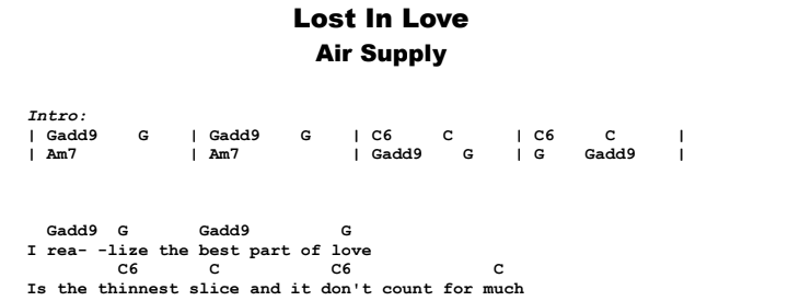 Air Supply - Lost In Love Guitar Lesson Chords & Songsheet Preview
