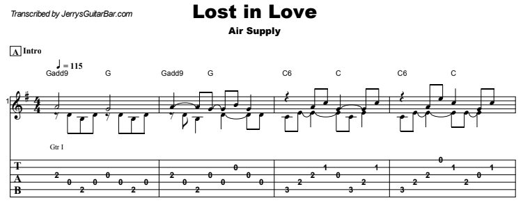 Air Supply - Lost In Love Guitar Lesson Tab Preview