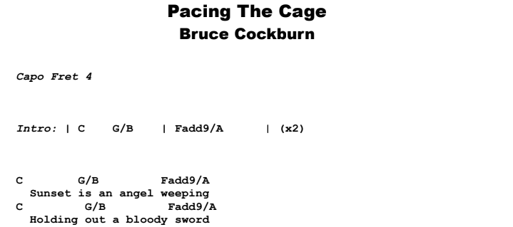 Bruce Cockburn - Pacing The Cage Guitar Lesson Chords & Songsheet Preview