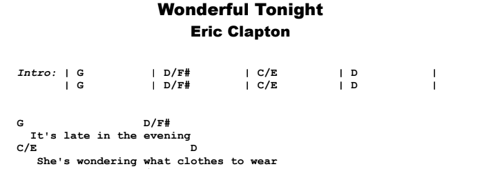 Eric Clapton - Wonderful Tonight Guitar Lesson Chords & Songsheet Preview