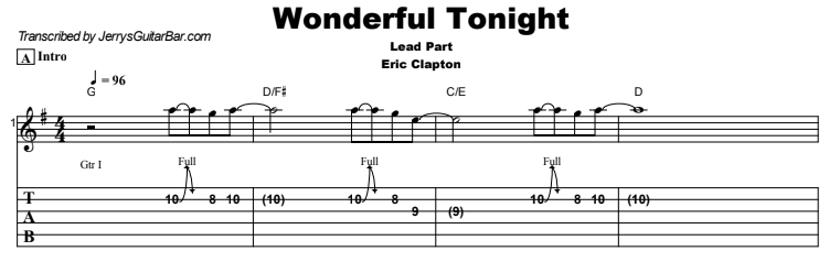 Eric Clapton - Wonderful Tonight Guitar Lesson Tab Preview
