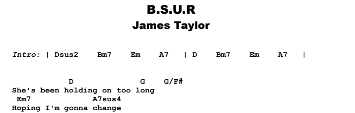 James Taylor - B.S.U.R. Guitar Lesson Chords & Songsheet Preview