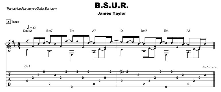 James Taylor - B.S.U.R. Guitar Lesson Tab Preview