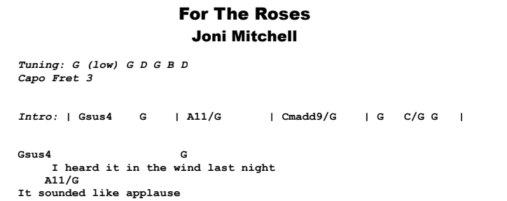 Joni Mitchell - For The Roses Guitar Lesson Chords & Songsheet Preview