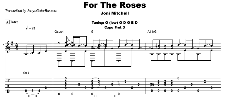 Joni Mitchell - For The Roses Guitar Lesson Tab Preview