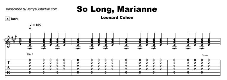 Leonard Cohen - So Long, Marianne Guitar Lesson Tab Preview