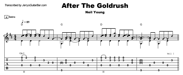 Neil Young - After The Goldrush Guitar Lesson Tab Preview