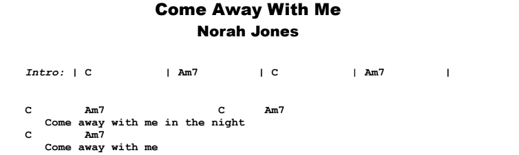 Norah Jones - Come Away With Me Guitar Lesson Chords & Songsheet Preview
