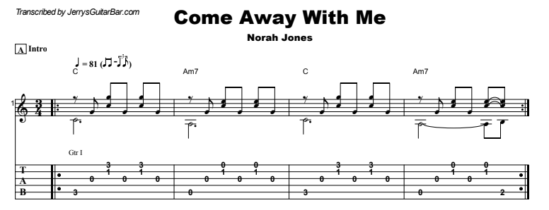 Norah Jones - Come Away With Me Guitar Lesson Tab Preview