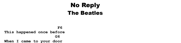 The Beatles - No Reply Guitar Lesson Chords & Songsheet Preview