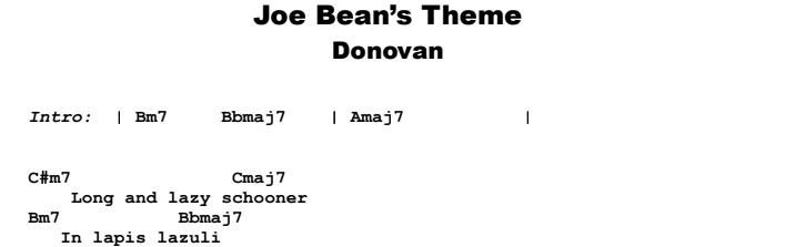 Donovan - Joe Bean's Theme Guitar Lesson Chords & Songsheet Preview
