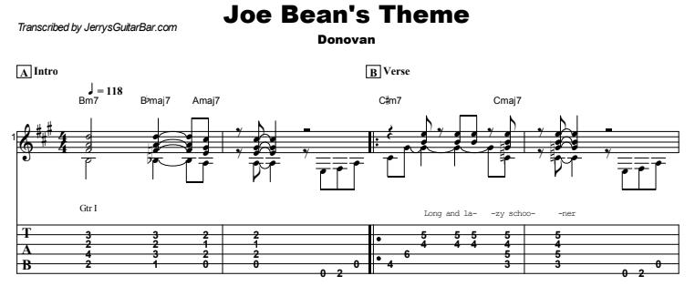 Donovan - Joe Bean's Theme Guitar Lesson Tab Preview