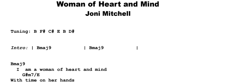 Joni Mitchell - Woman of Heart and Mind Guitar Lesson Chords & Songsheet Preview