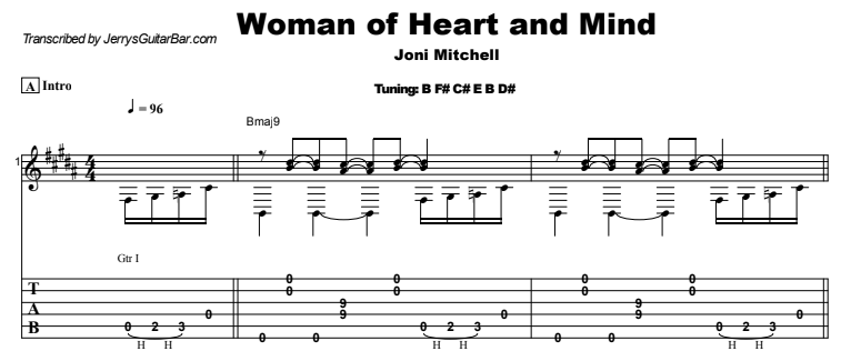 Joni Mitchell - Woman of Heart and Mind Guitar Lesson Tab Preview