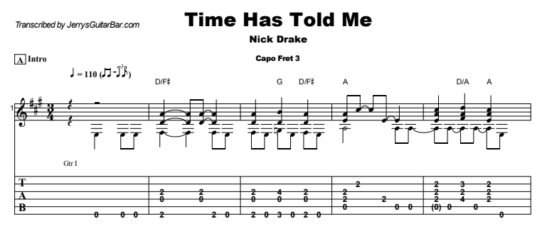 Nick Drake - Time Has Told Me Guitar Lesson Tab Preview