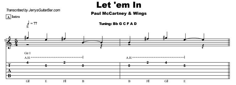 Paul McCartney & Wings - Let 'em In Guitar Lesson Tab Preview