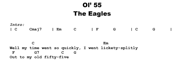 The Eagles - Ol' 55 Guitar Lesson Chords & Songsheet Preview