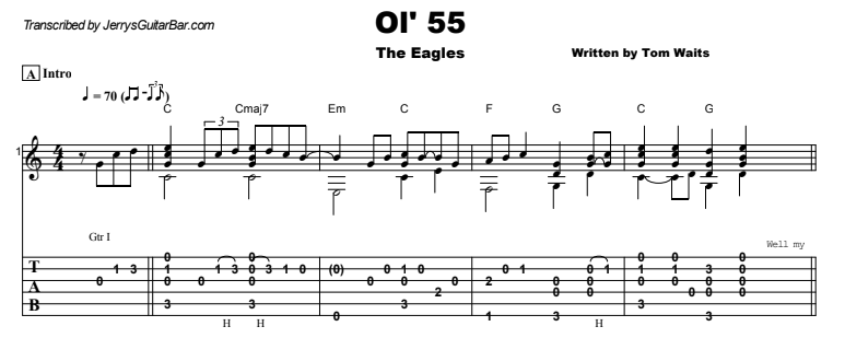 The Eagles - Ol' 55 Guitar Lesson Tab Preview